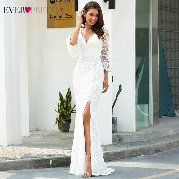 Sexy Lace 3/4 Sleeve Side Split Deep V-Neck Zipper Mermaid Bride Gown Wedding Dresses