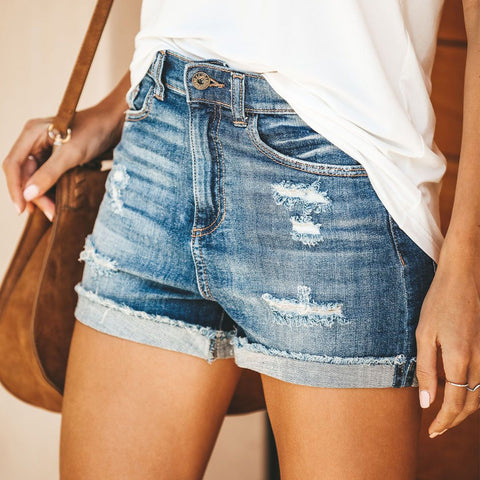 Tassel High Waist Denim Vintage Ripped Hole Summer Casual Pocket Jeans Ladies Mini Shorts