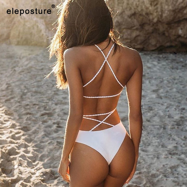 One Piece Swimsuit Solid Swimwear Women Bandage Monokini Swimsuit Backless Bathing Suit Beachwear