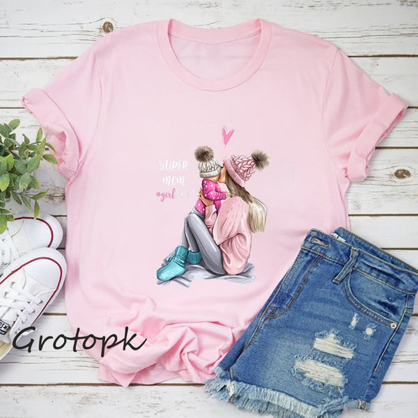 Mother's Love T-shirts for Women Mom and Daughter Black Pink Summer Short Sleeve Female Top Vogue T Shirt Polyester