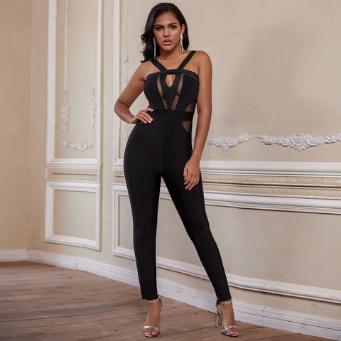 Womens Bandage New Arrival Summer Cut Out Black Bodycon Sexy Club Party Jumpsuit