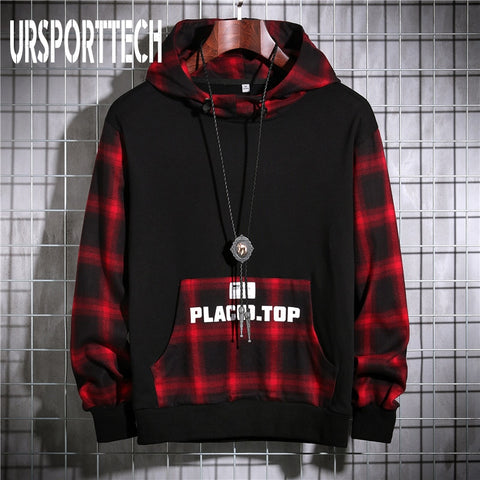 Spring Autumn Mens Sweatshirts Fleece Streetwear Pullover Hoodie Men/Women Casual Plaid Hip Hop Hooded Sweatshirt