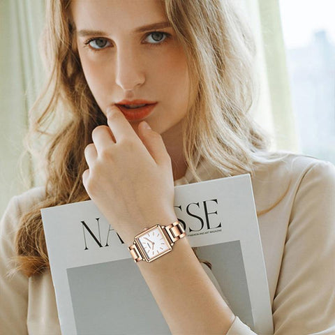 Ladies Square Watch Luxury Brand Fashion Simple Dress Quartz Ultra-thin Watch Waterproof Rose Gold Watch - The Clothing Company Sydney