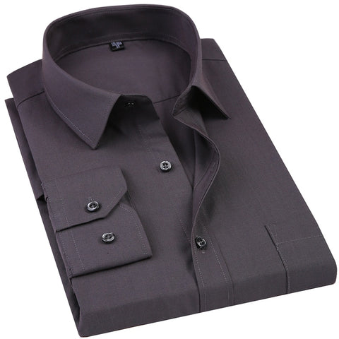 New Men's Dress Shirt Solid Color Plus Size Black White Blue Gray Business Casual Long Sleeved Shirt