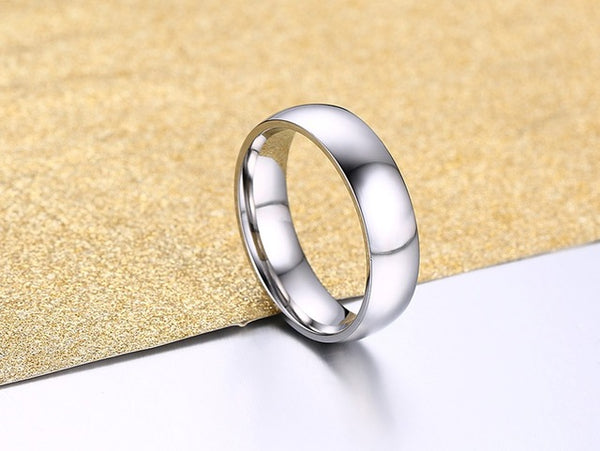 Simple Classic Wedding Rings silver color Stainless Steel Engagement Rings For Men Women Jewelry Wedding Bands