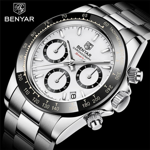 Benyar Men's Luxury Brand Chronograph Sport Waterproof Stainless Steel Quartz Watch - The Clothing Company Sydney