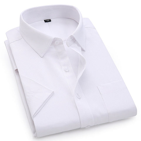 Men's Dress Casual Short Sleeved Shirt Twill White Blue Pink Male Shirt For Men