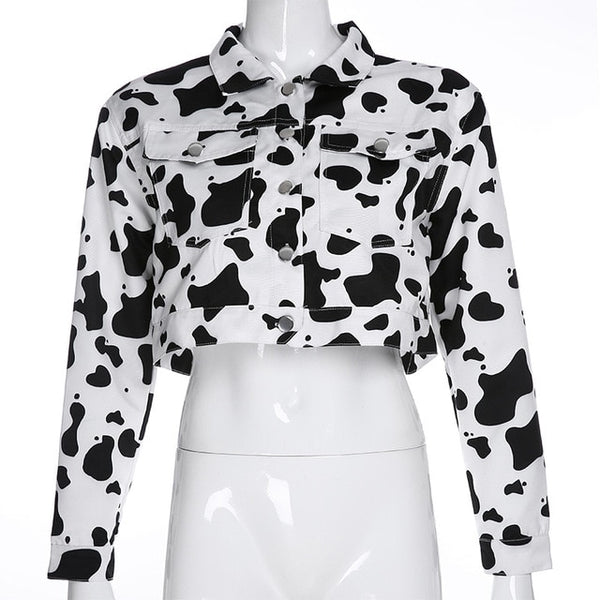 Streetwear Cow Print Cropped Casual Buttons Coat Women Cardigan Spring Autumn Basic Jacket