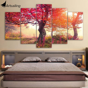 HD Printed 5 Piece Painting Seasons Trees Red Trees Forest Painting Large Canvas Art Wall Pictures for Living Room ny-7460C - The Clothing Company Sydney