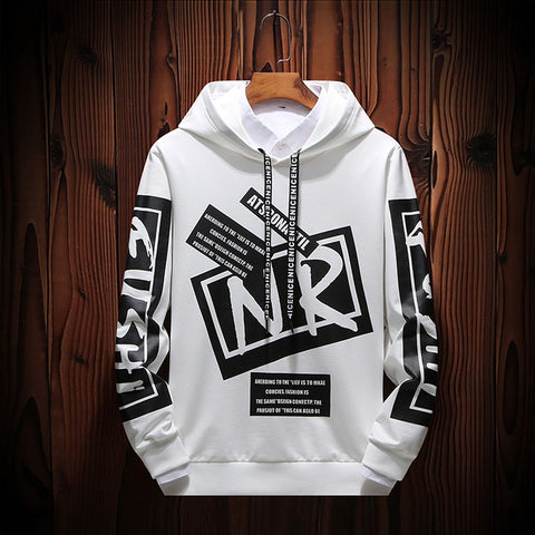 New Casual Black White Hooded Men Hip Hop Street Wear Letter Print Sweatshirts Skateboard Men/Woman Pullover Hoodie