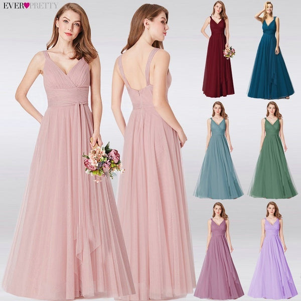 Blush Pink Sweetheart A-line V-neck Sleeveless Wedding Party Elegant Bridesmaid Dresses