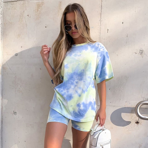 Summer Tie Dye Short Sleeve Top Shirt Loose And Biker Shorts Casual Two Piece Set Streetwear Outfits Women's Set