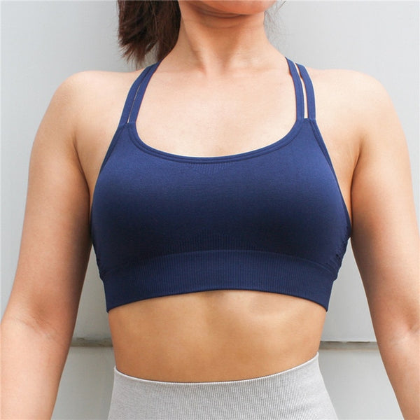 Sports Yoga Running Top With Pads Sportswear Push Up Training Women Fitness Gym High Impact Criss Cross Bra