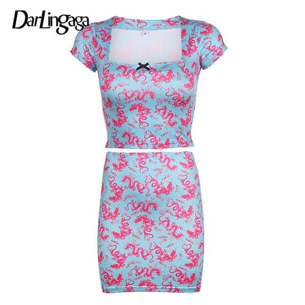 Bodycon Dragon Printed Two Piece Set Women Crop Top and Mini Skirt Outfits Matching Sets Summer Women's Suit