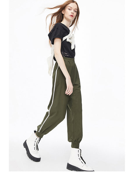 Women's Loose Fit Elasticized Waist Ankle-tied Sweatpants
