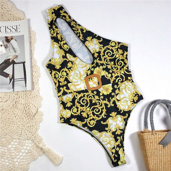 Print one piece swimsuit female Push up bodysuit Vintage high cut swimwear women swimsuit Bathers