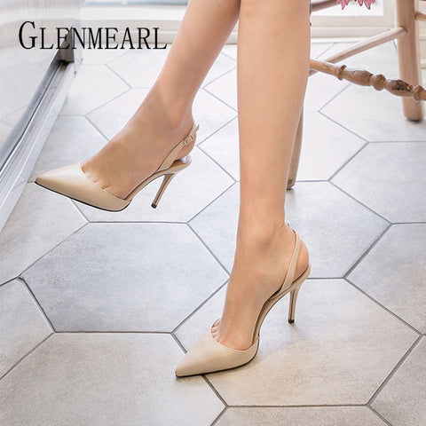 Ladies Pumps High Heels Fashion Buckle Pointed Toe Wedding Shoes Spring Autumn Casual Shoes