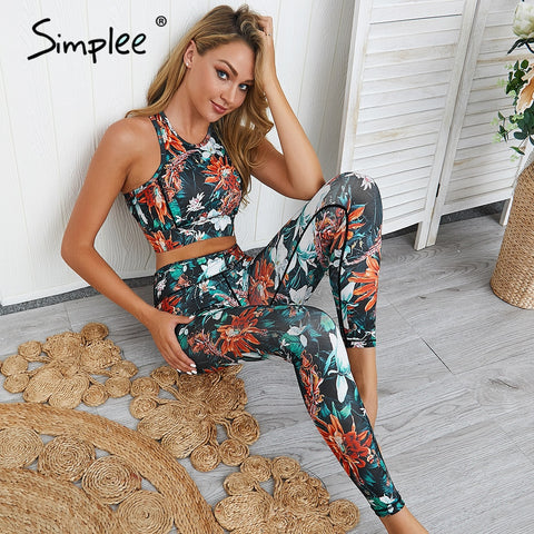2 Piece High waist floral womens summer casual fashion streetwear Crop Top and Leggings Fitness Yoga Active wear