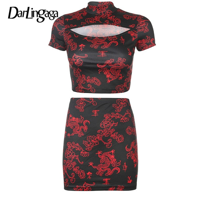 Dragon Print Two Piece Set Women Cut Bodycon Fashion Crop Top and Mini Skirt Matching Sets Outfit