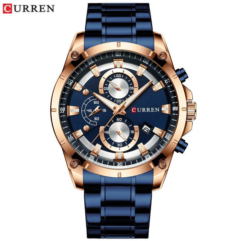 Creative Designer Luxury Quartz Wristwatch with Stainless Steel Chronograph Sport Men's Watch - The Clothing Company Sydney