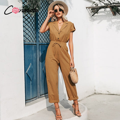 Solid summer beach women jumpsuits romper casual button lace up wide leg  jumpsuit
