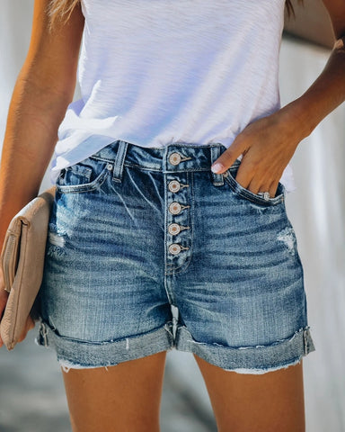 High Waist Crimping Women's Jeans Summer Fashion Ripped Casual Push Up Vintage  Streetwear Denim Shorts