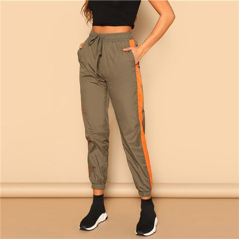 Drawstring Waist Contrast Tape Side Utility Capris Casual Pocket Belted Trousers Pants