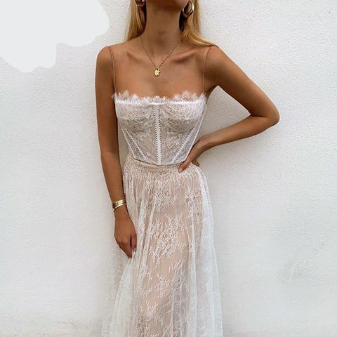 Sexy white lace summer maxi Beach spaghetti strap backless Mesh femme long dress