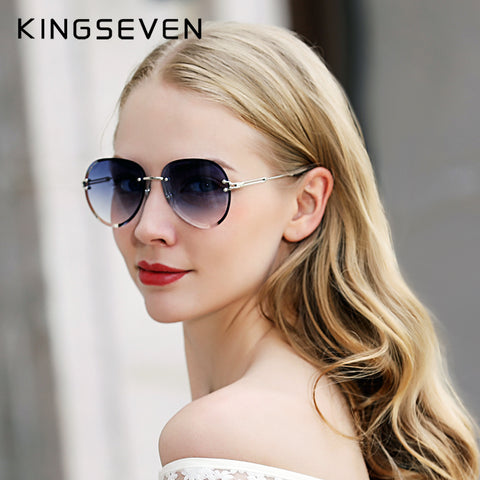 Designer Vintage Fashion Rimless Women Sunglasses Gradient Lens Sunglasses