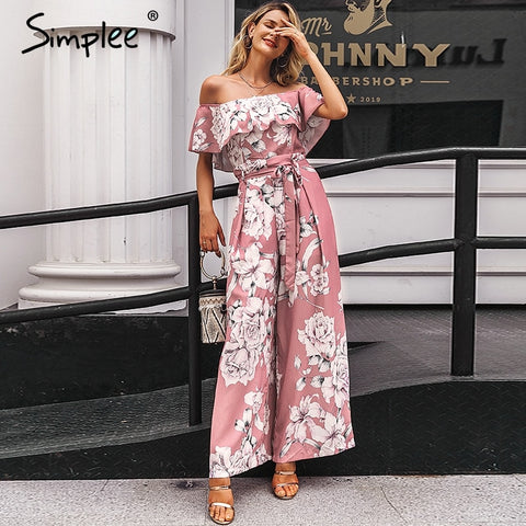 Bohemian floral print Elegant off shoulder sashes ladies long Summer beach ruffled playsuit Jumpsuit