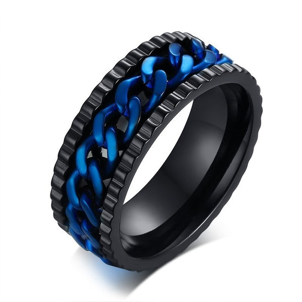 Men's Spinner Stainless Steel Metal Not Fade Gold Black Blue silver color Chain Ring