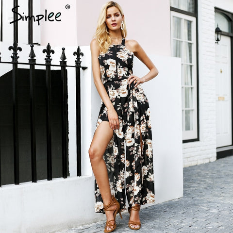 Halter sleeveless long Floral print backless overalls romper female Summer casual playsuit jumpsuit