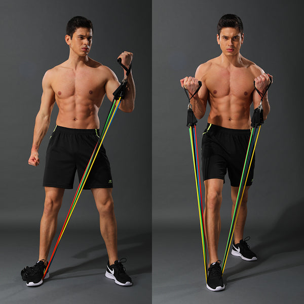 11 Piece/Set Latex Resistance Bands Crossfit Training Body Exercise Yoga Tubes Pull Rope Chest Expander Pilates Fitness with Bag