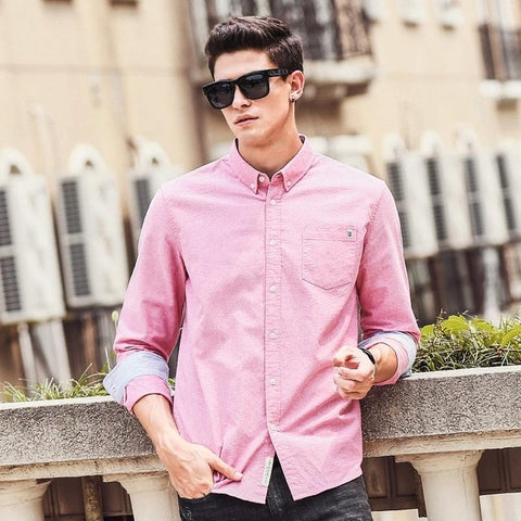 Casual Men's brand new long sleeve slim fit solid male shirts