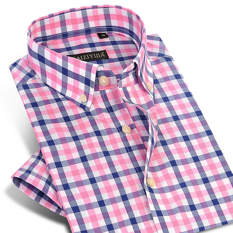 England Style Plaid Checked Cotton Men's Pocket-less Design Short Sleeve Summer Casual Standard-fit Button-down Thin Shirt