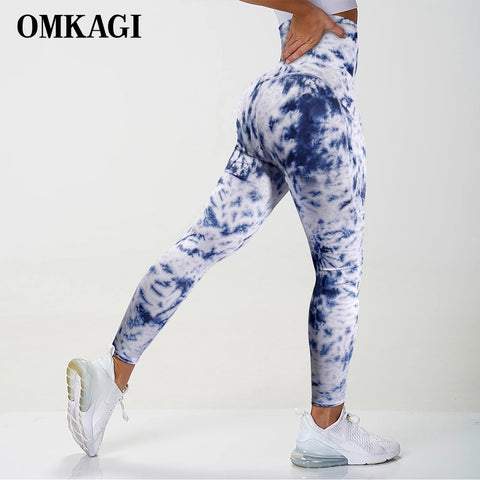 Tie Dye Tight Sports Women Fitness With Pocket Yoga Pants Stretch Workout Patchwork Slim Gym Leggings