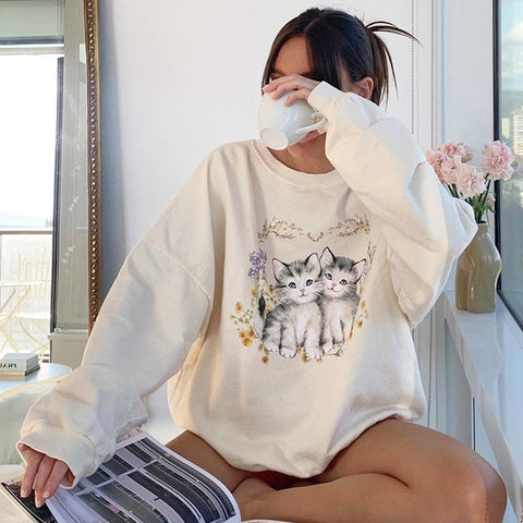 Cat Print Cute White Oversized Autumn Cute Long Sleeve Sweat Shirt Casual Loose Pullover Streetwear Sweatshirt