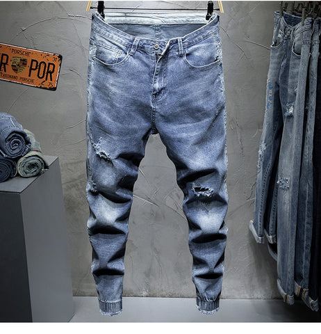 Slim Fit Light Blue Elastic Hollow Out Ripped Feet Jogger Pants Male Leisure Trend Streetwear Men'sJeans