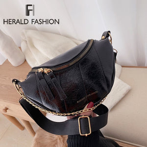 Solid Color Pu Leather Chest Bags Round Zipper Crossbody Messenger Bag Lady Chain Travel Handbags and Purse