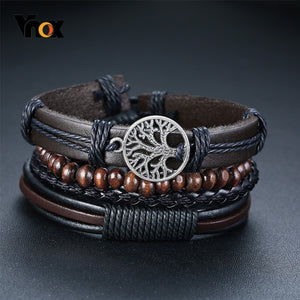4 PieceSet Braided Wrap PU Leather Bracelets for Men Vintage Life Tree Rudder Charm Wood Beads Ethnic Tribal Style Wristbands