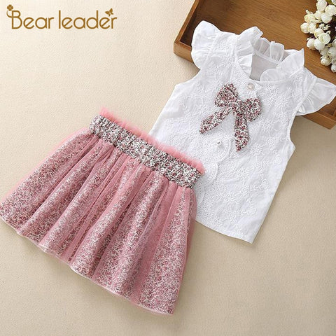 2 Piece Girls Clothing Sets New Summer Sleeveless T-shirt+Print Bow Skirt Shorts for Kids Clothing Sets Outfit