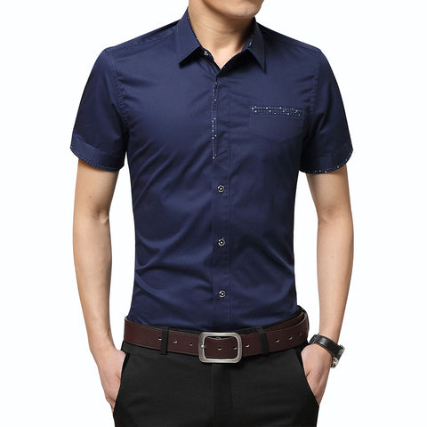 Men's Brand Luxury Cotton Short Sleeves Dress Shirt Turn-down Collar Shirt