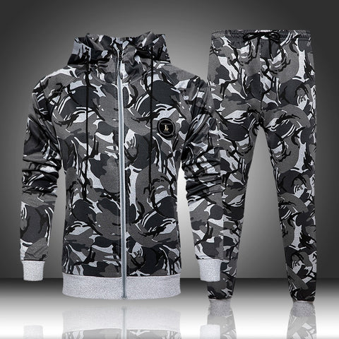 2 Piece Camouflage Sweatshirts Jacket + Pants Sets Camo Men Tracksuit Hooded Outerwear Hoodie Set