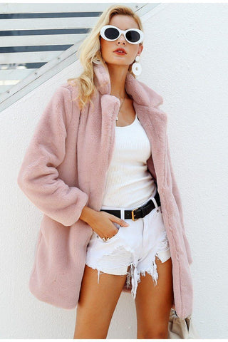 Elegant pink faux fur streetwear Autumn winter warm plush teddy overcoat Jacket - The Clothing Company Sydney