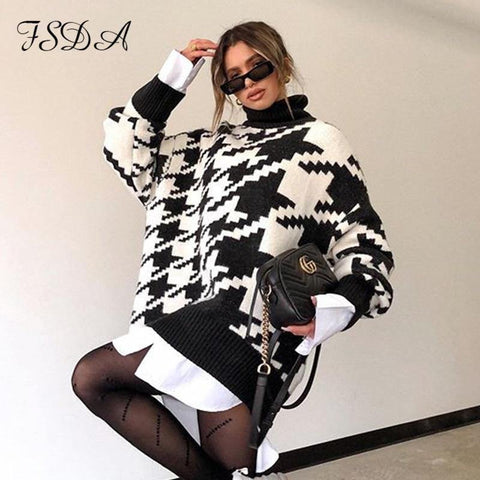 Long Sleeve Autumn Winter Oversized Sweater Dress Women Turtleneck Black Casual Knit Pullover Jumper - The Clothing Company Sydney