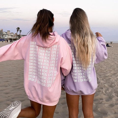 Pink Sweat Oversized Hoodie Sweatshirt Autumn Winter Letter Print Casual Long Hooded Pullover