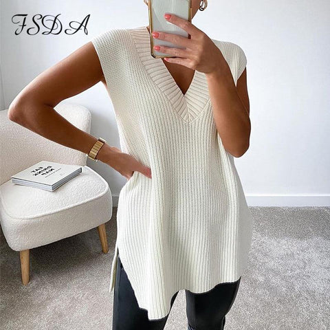 V Neck Sleeveless Sweater Vest Knitted Jumper Autumn Winter Split White Pullover Loose Over size Top - The Clothing Company Sydney