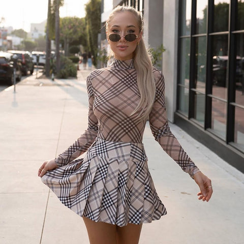 Vintage Plaid Turtleneck Mesh Long Sleeve Sexy Club Party Checkered One Piece Bodysuit