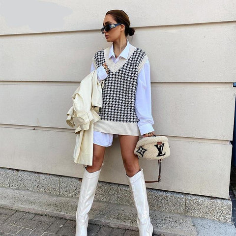 Vest Sweater Casual V Neck Sleeveless Autumn Winter Jumper Knitted Pullover Loose Oversize Tops - The Clothing Company Sydney