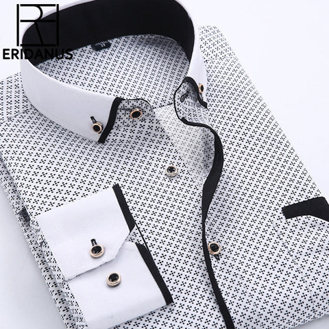 Men Dress Shirt Long Sleeve Slim Fit Button Down Collar High Quality Printed Business Shirts